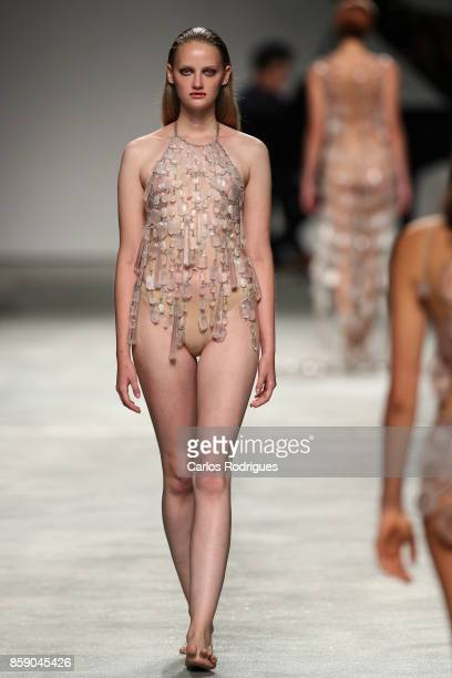 Model walks the catwalk during Olga Noronha runway show on October 8 2017 in Lisboa CDP Portugal