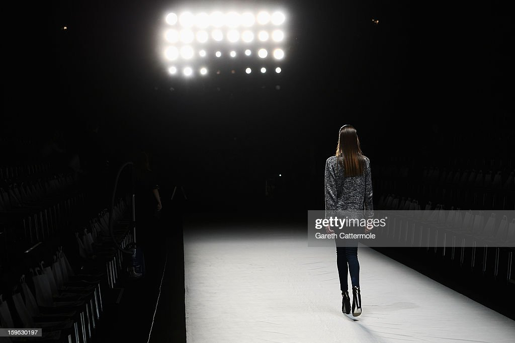 A model walks the catwalk during rehearsa at Hien Le Autumn/Winter 2013/14 Fashion Show during Mercedes-Benz Fashion Week Berlin at Brandenburg Gate on January 15, 2013 in Berlin, Germany.