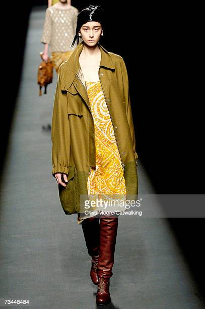 A model walks the catwalk during the Dries Van Noten fashion show as part of Paris Fashion Week Autumn/Winter 2008 on February 28 2007 in Paris France