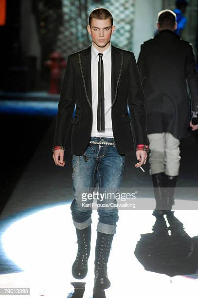 A model walks the catwalk during the DSquared2 fashion show as part of Autumn Winter 2008/2009 Milan Menswear fashion week on January 15 2008 in...