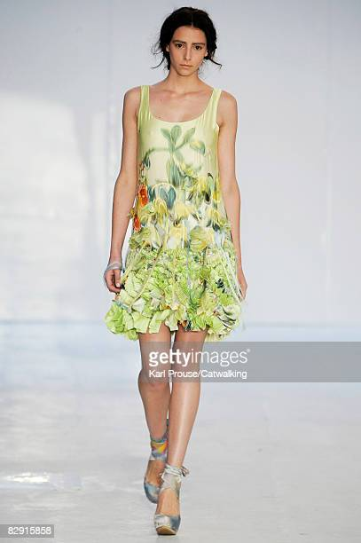A model walks the catwalk during the Erdem show part of London Fashion Week Spring/Summer 2009 on September 18 2008 in London England