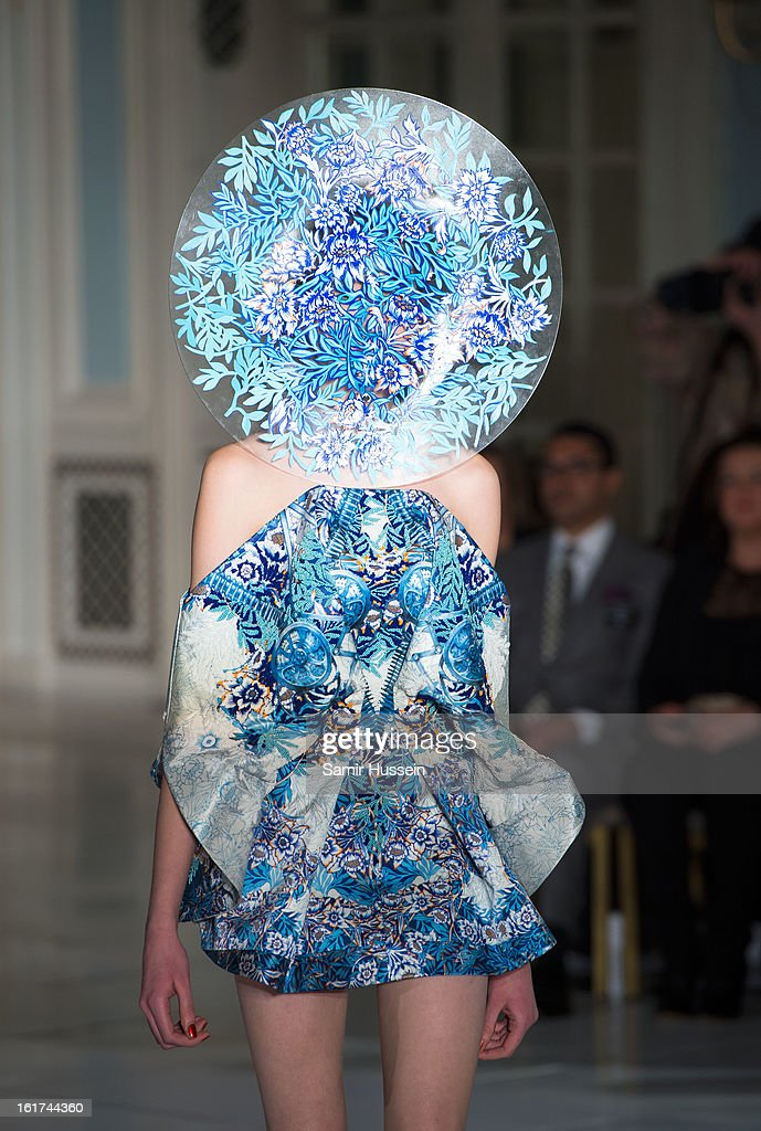 A model walks the catwalk during the Fyodor Golan show during London Fashion Week Fall/Winter 2013/14 at The Savoy on February 15, 2013 in London, England.