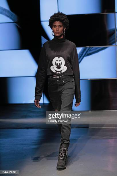 A model walks the catwalk during the Kith Sport Runway show September 2017 at New York Fashion Week on September 7 2017 in New York City