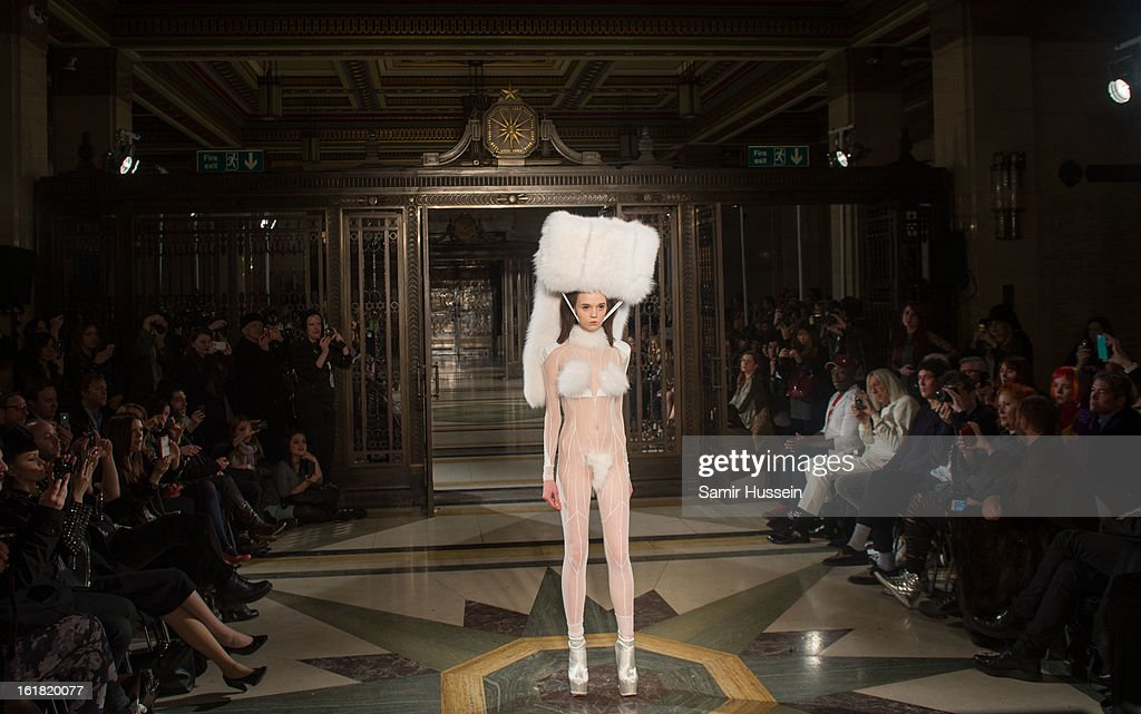 A model walks the catwalk during the Pam Hogg show at Freemasons Hall during London Fashion Week Fall/Winter 2013/14 on February 16, 2013 in London, England.