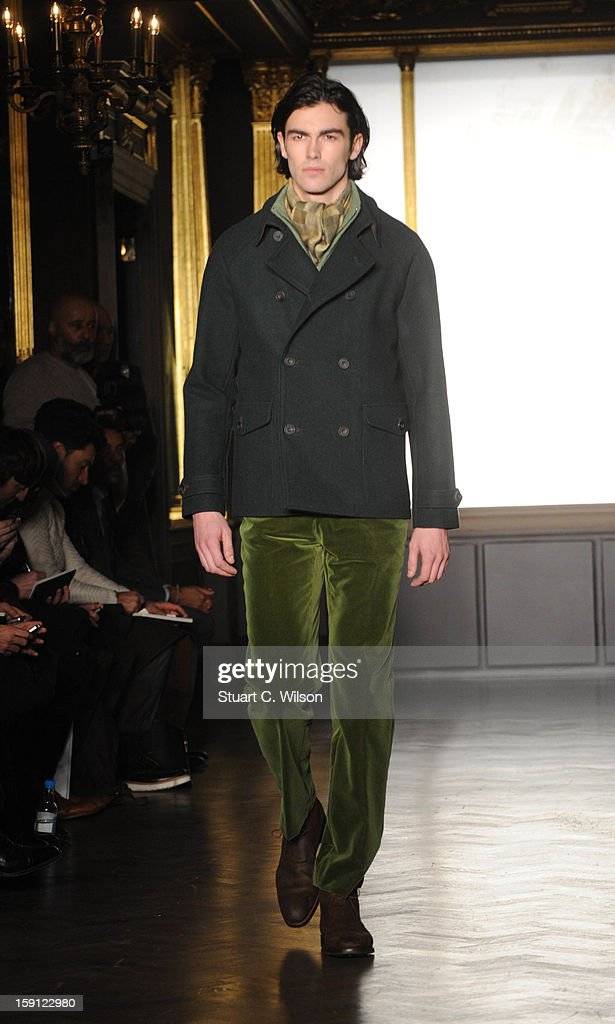 A model walks the catwalk during the Richard James show at the London Collections: MEN AW13 at Cafe Royal on January 8, 2013 in London, England.