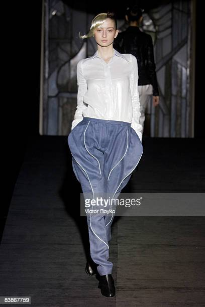 A model walks the catwalk during the Vardoui Nazarian Spring Summer 2009 show at Central House on November 27 2008 in Moscow Russia