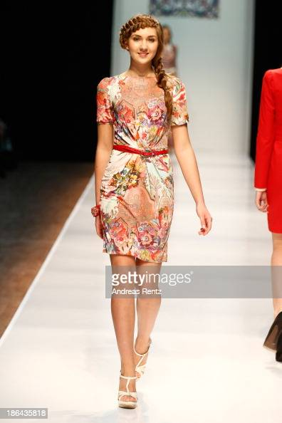 A model walks the Collective Show Of The Finalists Of The Moscow Contest Of Young Fashion Designers show during MercedesBenz Fashion Week Russia S/S...