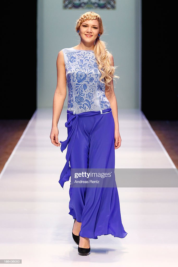 A model walks the Collective Show Of The Finalists Of The Moscow Contest Of Young Fashion Designers show during Mercedes-Benz Fashion Week Russia S/S 2014 on October 31, 2013 in Moscow, Russia.