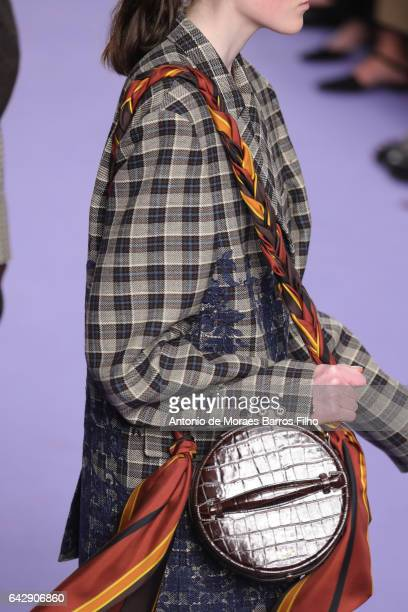 A model walks the detail runway at the Mulberry show during the London Fashion Week February 2017 collections on February 19 2017 in London England