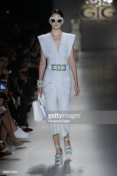 A model walks the GIG Couture Runway at SPFW Summer 2016 at Parque Candido Portinari on April 16 2015 in Sao Paulo Brazil