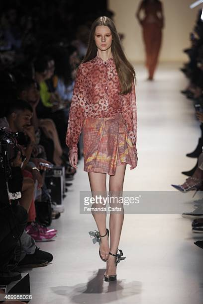 A model walks the Iodice runway at SPFW Summer 2016 at Parque Candido Portinari on April 16 2015 in Sao Paulo Brazil