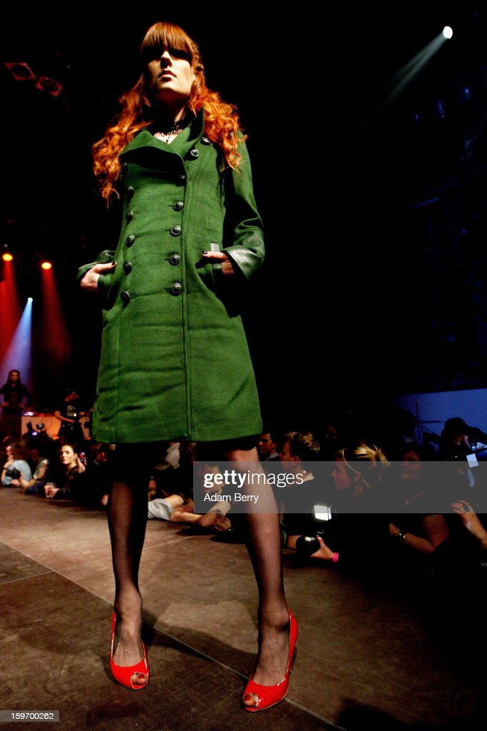 A model walks the 'Kat von D Los Angeles' Fashion Show at the Kesselhaus on January 18, 2013 in Berlin, Germany.