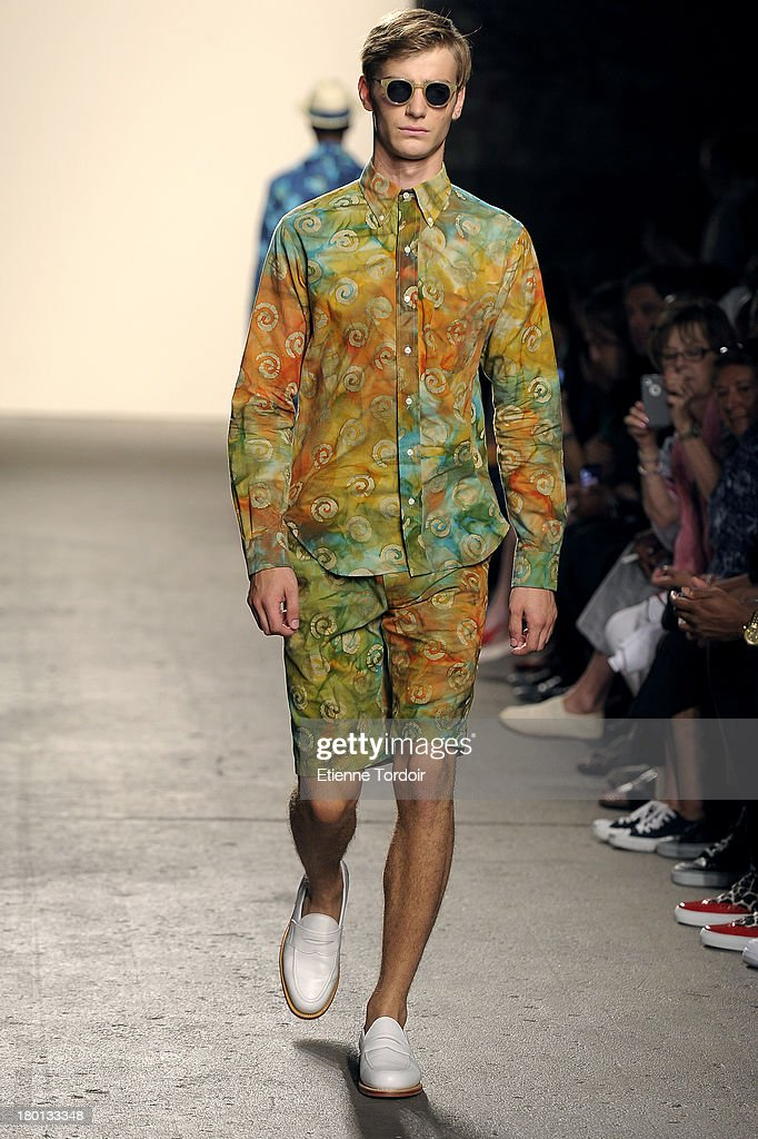 A model walks the Mark McNairy Amsterdam runway during Spring 2014 Mercedes-Benz Fashion Week at Eyebeam Studio on September 8, 2013 in New York City.