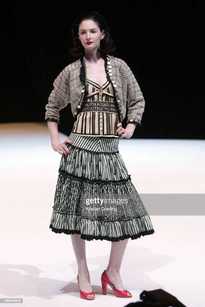 A model walks the Paris Runway 1 wearing Easton Pearson at Waterfront City as part of the L'Oreal Melbourne Fashion Festival February 27 2006 in...