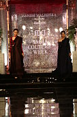 A model walks on the ramp for the Indian fashion Designer Manish Malhotra on day 1 of FDCI India Couture Week 2016 at The Taj Palace Hotel on July 20...