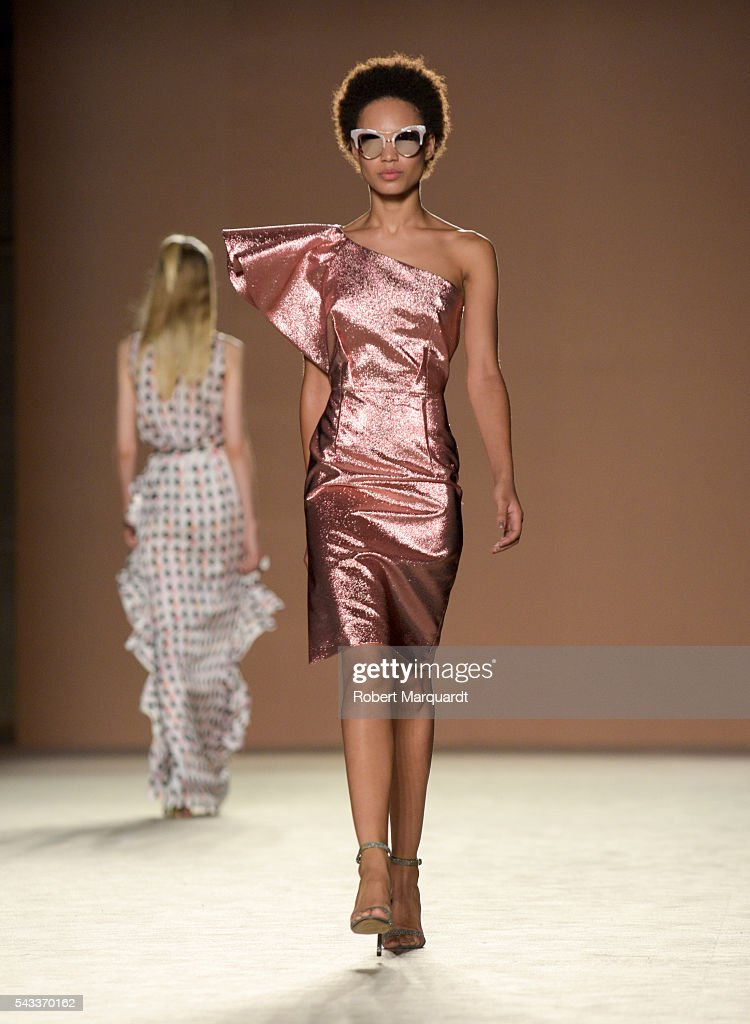 A model walks the runaway at the Justicia Ruano show during the Barcelona 080 Fashion Week Spring/Summer 2017 at the INFEC on June 27, 2016 in Barcelona, Spain.