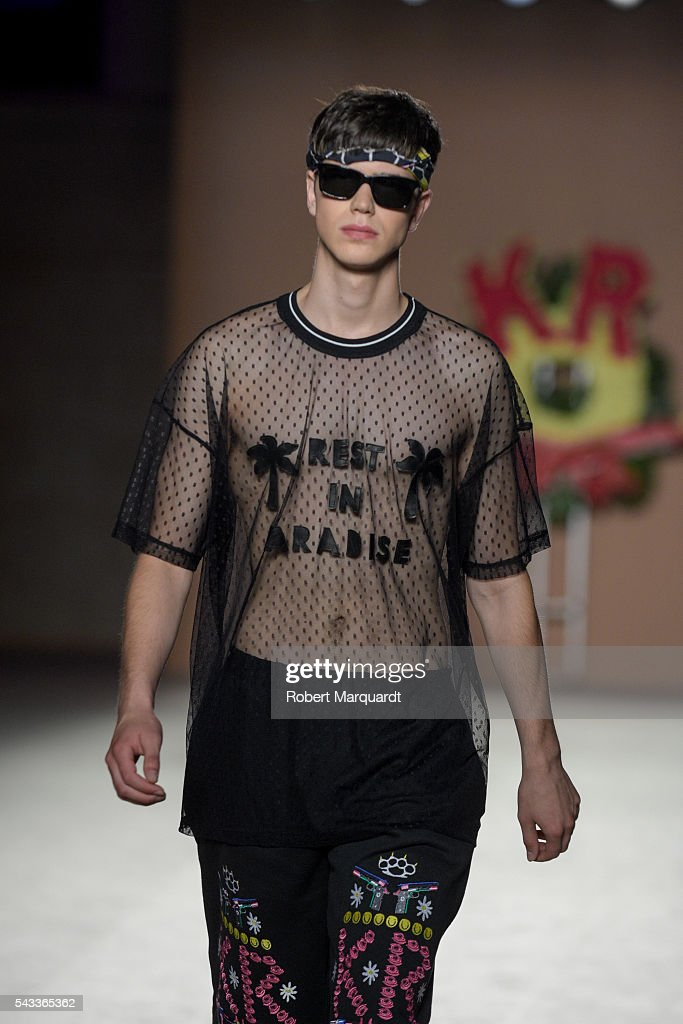 A model walks the runaway at the Krizia Robustella show during the Barcelona 080 Fashion Week Spring/Summer 2017 at the INFEC on June 27, 2016 in Barcelona, Spain.