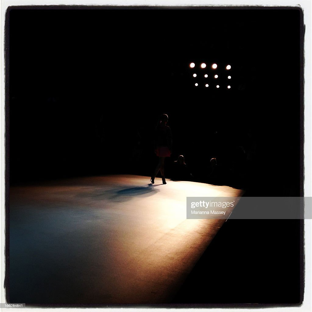 A model walks the runway ahead of the Bless'ed Are The Meek show during Mercedes-Benz Fashion Week Australia Spring/Summer 2013/14 at Carriageworks on April 11, 2013 in Sydney, Australia.