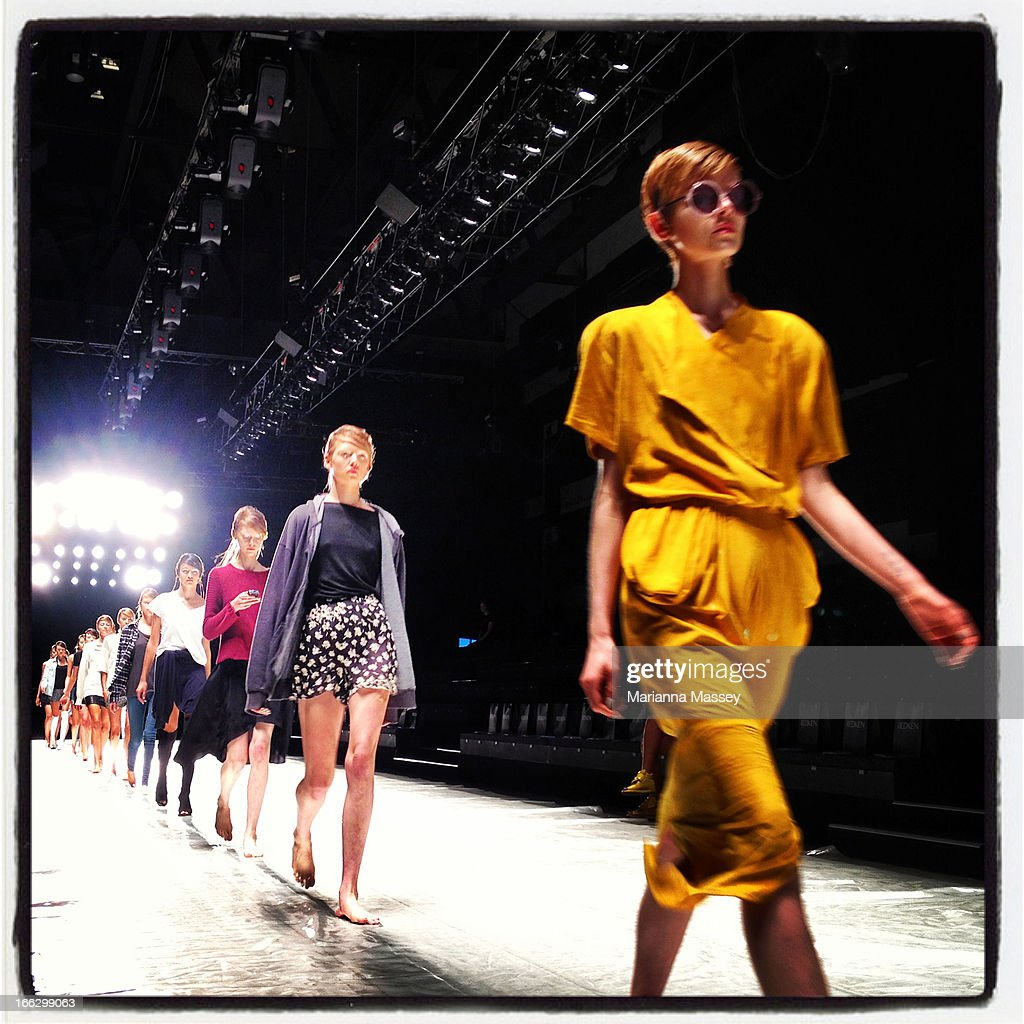 A model walks the runway ahead of the Shakuhachi show during Mercedes-Benz Fashion Week Australia Spring/Summer 2013/14 at Carriageworks on April 11, 2013 in Sydney, Australia.