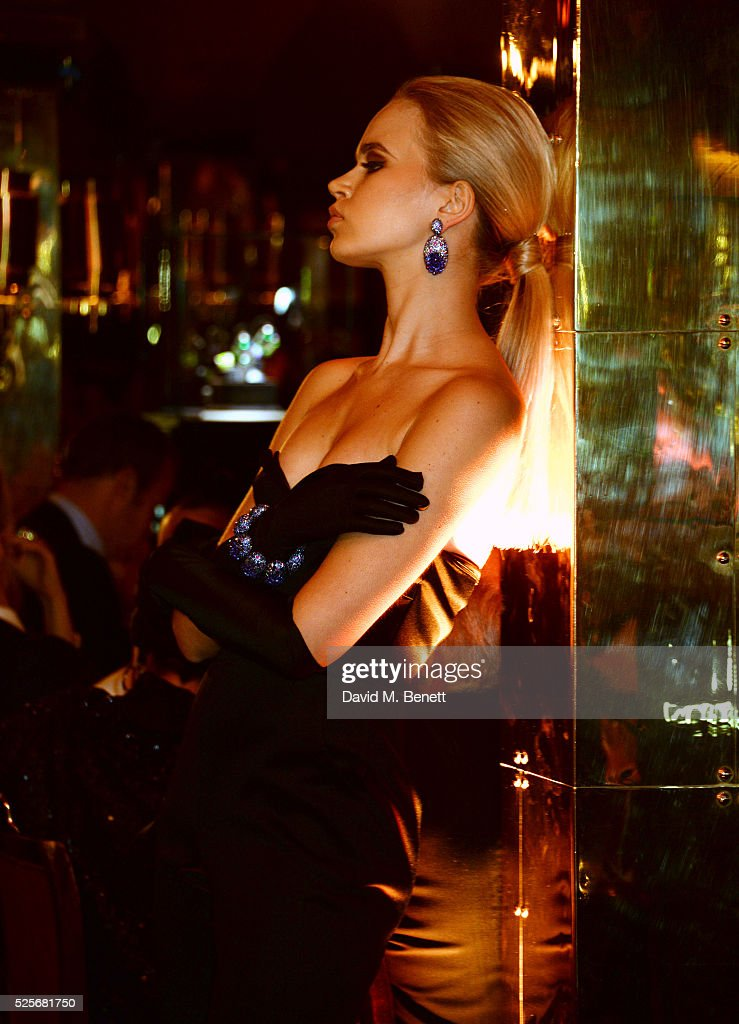 A model walks the runway at a private dinner hosted by Fawaz Gruosi, founder of de Grisogono, at Annabels on April 28, 2016 in London, England.