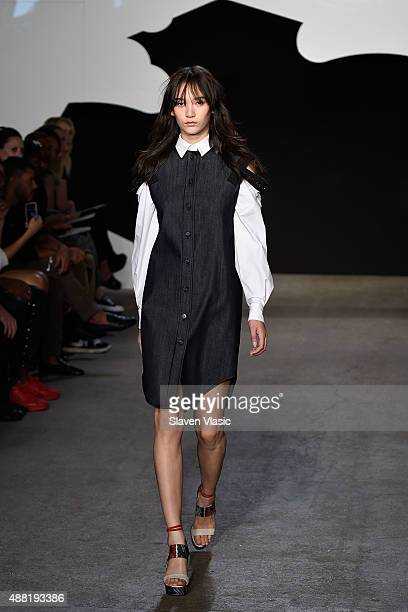 A model walks the runway at Adeam during the Spring 2016 New York Fashion Week at Highline Stages on September 14 2015 in New York City