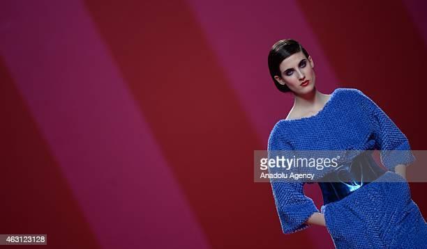 A model walks the runway at Agatha Ruiz de la Prada Fall/Winter 2015/16 show during the Madrid Fashion Week at Ifema on February 10 2015 in Madrid