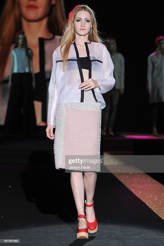 A model walks the runway at Alberto Monti Fashion Show during the Mittelmoda Special Edition 2013 for Lectra on November 7, 2013 in Milan, Italy.