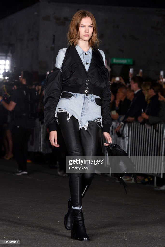 A model walks the runway at Alexander Wang fashion show during New York Fashion Week on September 9, 2017 in the Brooklyn borough of New York City City.