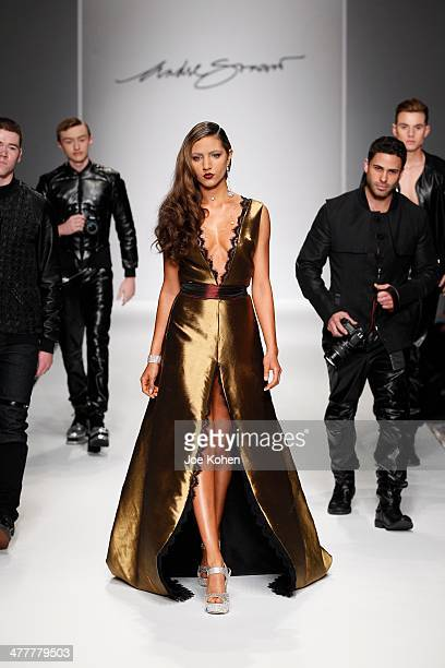 A model walks the runway at Andre Soriano fashion show during Style Fashion Week at LA Live Event Deck on March 10 2014 in Los Angeles California