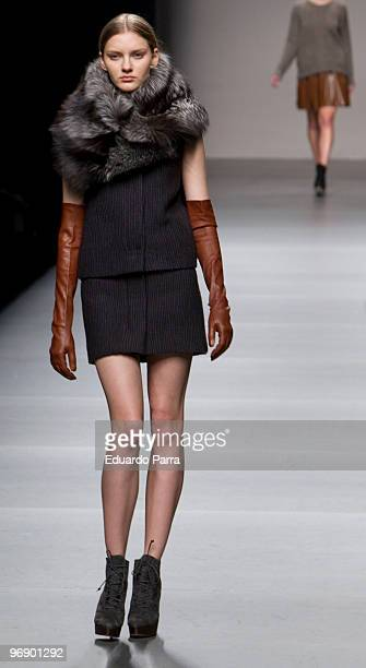 Model walks the runway at Angel Schlesser show during Cibeles Fashion Week at Ifema on February 20 2010 in Madrid Spain