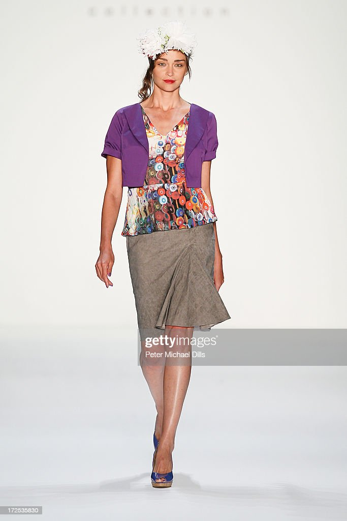 A model walks the runway at Anja Gockel show during Mercedes-Benz Fashion Week Spring/Summer 2014 at Brandenburg Gate on July 3, 2013 in Berlin, Germany.