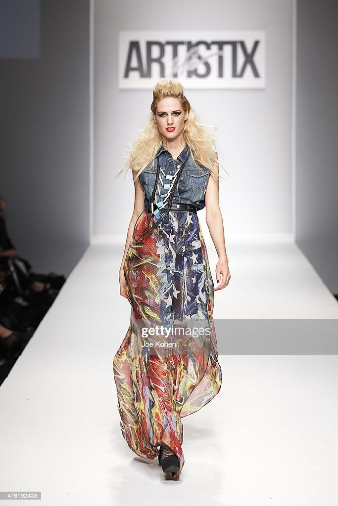 A model walks the runway at Artistix fashion show during Style Fashion Week - Day 3 at L.A. Live Event Deck on March 11, 2014 in Los Angeles, California.