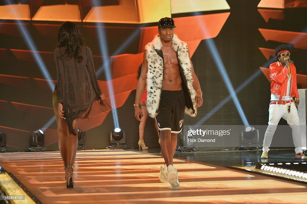 A model walks the runway at BET's Rip The Runway 2013:Show at Hammerstein Ballroom on February 27, 2013 in New York City.