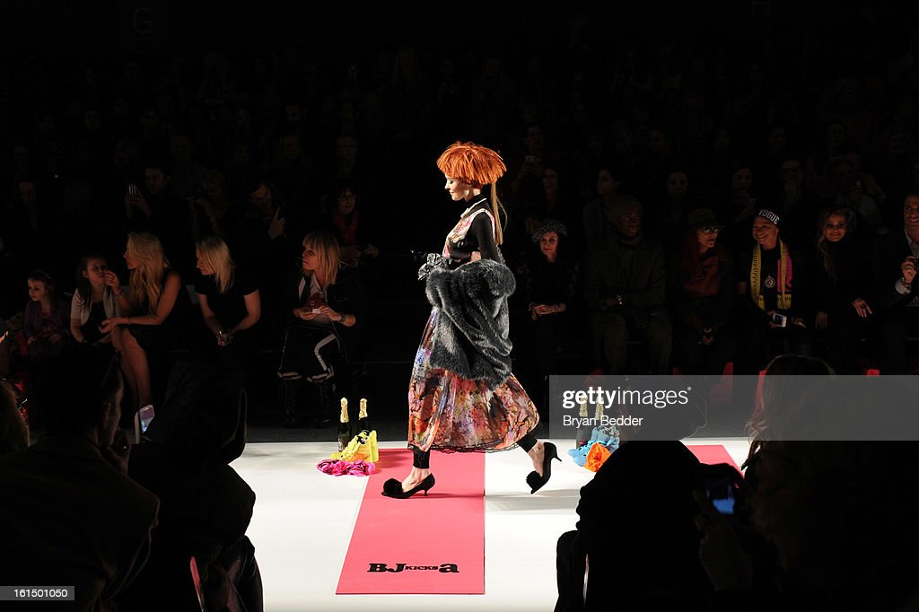 A model walks the runway at Betsey Johnson Fall 2013 fashion show during Fall 2013 Mercedes-Benz Fashion Week at Lincoln Center for the Performing Arts on February 11, 2013 in New York City.