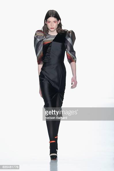 A model walks the runway at Bibhu Mohapatra during New York Fashion Week The Shows at Gallery 3 Skylight Clarkson Sq on February 15 2017 in New York...