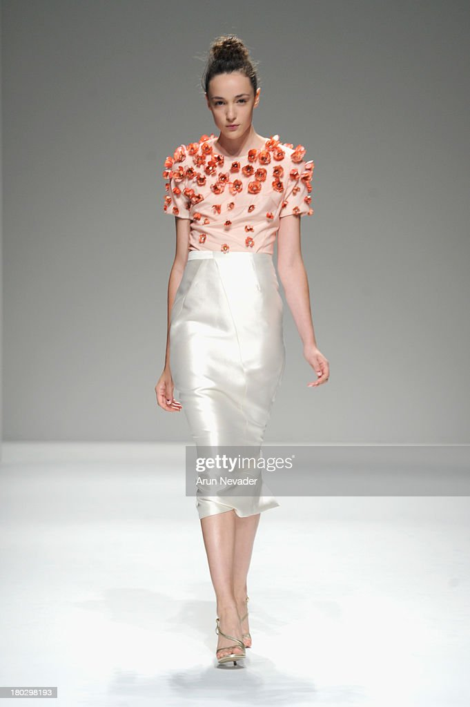 LOOK #7. A model walks the runway at Bibhu Mohapatra fashion show during Mercedes-Benz Fashion Week Spring 2014 at The Studio at Lincoln Center on September 11, 2013 in New York City.