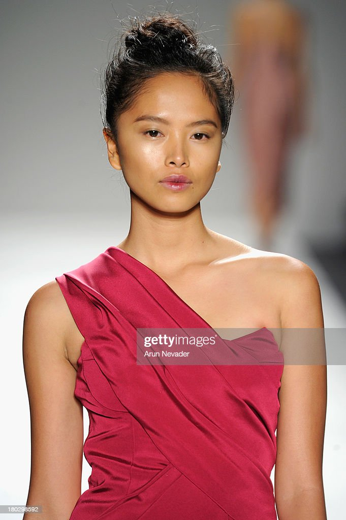 A model walks the runway at Bibhu Mohapatra fashion show during Mercedes-Benz Fashion Week Spring 2014 at The Studio at Lincoln Center on September 11, 2013 in New York City.