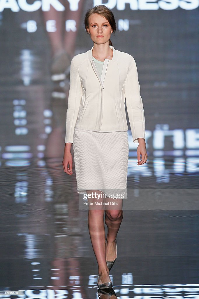 A model walks the runway at Blacky Dress Berlin Show during Mercedes-Benz Fashion Week Spring/Summer 2014 at Brandenburg Gate on July 3, 2013 in Berlin, Germany.