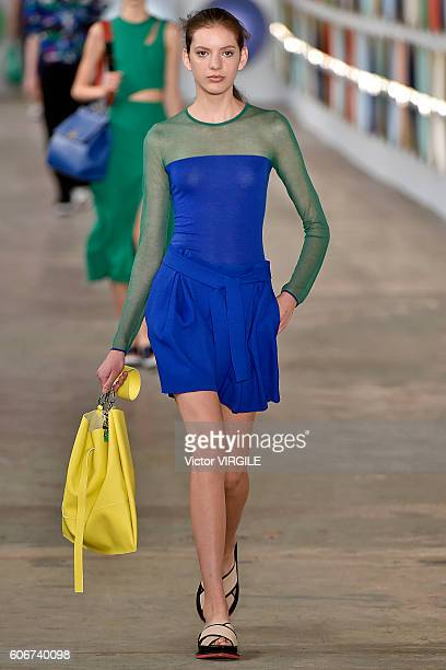 A model walks the runway at Boss Womenswear Ready to Wear Spring Summer 2017 fashion show during New York Fashion Week on September 14 2016 in New...