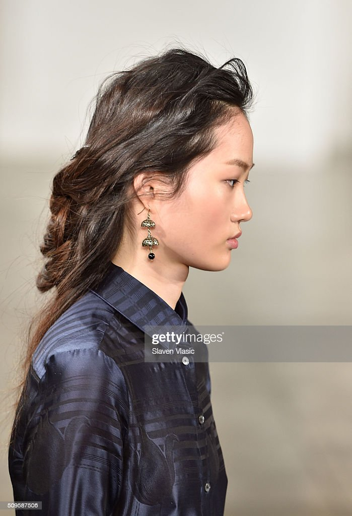 A model walks the runway at Brock Collection fashion show during Fall 2016 MADE Fashion Week at Milk Studios on February 11, 2016 in New York City.