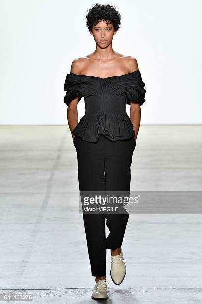 A model walks the runway at Brock Collection Fashion Show during New York Fashion Week Fall Winter 20172018 on February 9 2017 in New York City