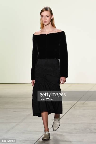 A model walks the runway at Brock Collection Show during New York Fashion Week Fall Winter 20172018 at Gallery 2 Skylight Clarkson Sq on February 9...