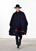 A model walks the runway at Carlos Campos' during the New York Fashion Week Men's Fall/Winter 2016 at Skylight at Clarkson Sq on February 2 2016 in...