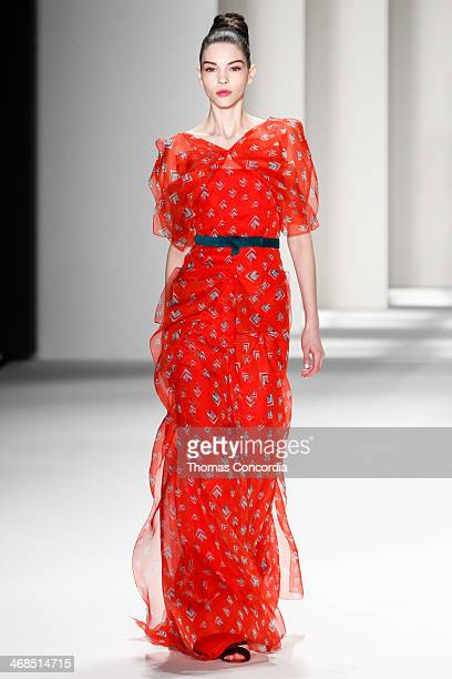 A model walks the runway at Carolina Herrera during MercedesBenz Fashion Week Fall 2014 at The Theatre at Lincoln Center on February 10 2014 in New...