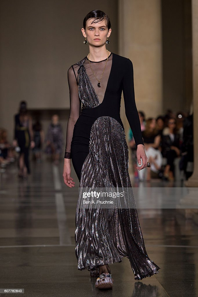 A model walks the runway at Christopher Kane runway show during London Fashion Week Spring/Summer collections 2017 on September 19, 2016 in London, United Kingdom.