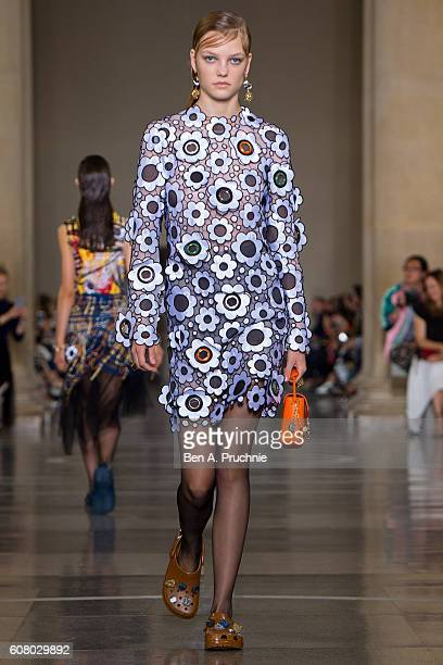 A model walks the runway at Christopher Kane runway show during London Fashion Week Spring/Summer collections 2017 on September 19 2016 in London...