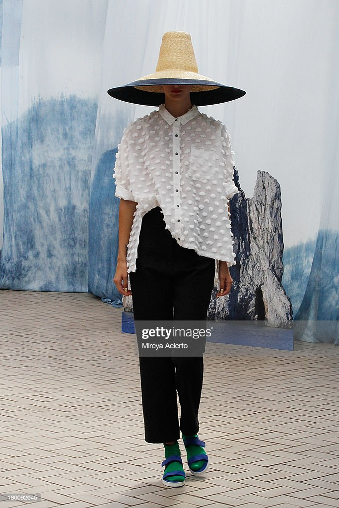 A model walks the runway at Creatures of Comfort Presentation at Maritime Hotel on September 8 2013 in New York City