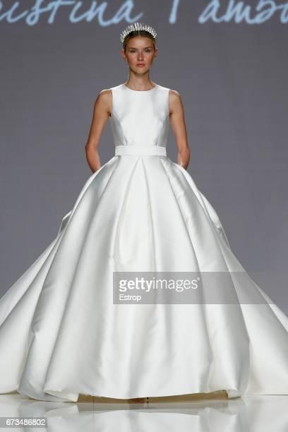 A model walks the runway at Cristina Tamborero show during Barcelona Bridal Fashion Week 2017 on April 26 2017 in Barcelona Spain