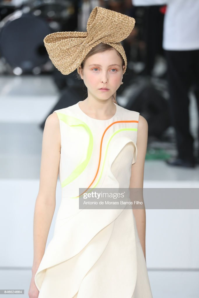 A model walks the runway at Delpozo show during New York Fashion Week at Pier 59 Studios on September 13, 2017 in New York City.