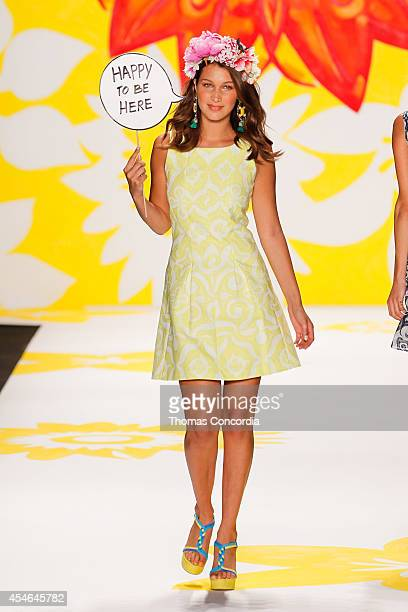 A model walks the runway at Desigual during MercedesBenz Fashion Week Spring 2015 at The Theatre at Lincoln Center on September 4 2014 in New York...